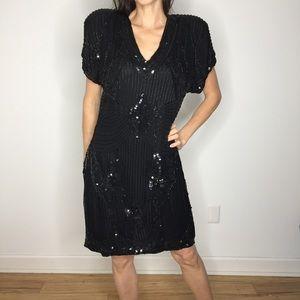 Vintage Black Sequins Beaded Sheath Dress